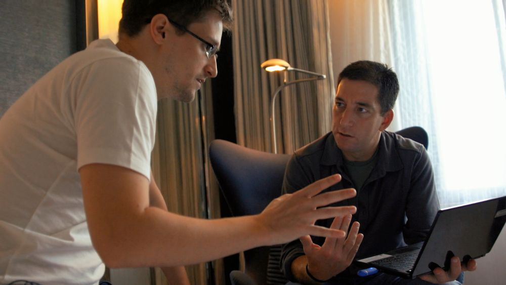 From 'Citizenfour': Edward Snowden (left) and Glenn Greenwald, in Snowden's Hong Kong hotel room. Courtesy of RADiUS-TWC