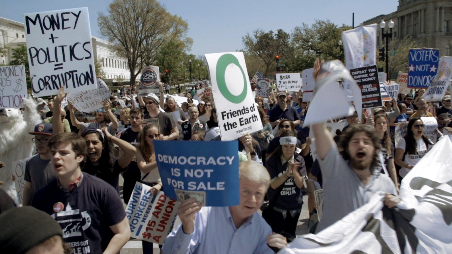 "Protesters in Washington, DC. From Kimberly Reed's ""Dark Money,"" which opens in theaters July 13 through PBS Distribution. Courtesy of POV"