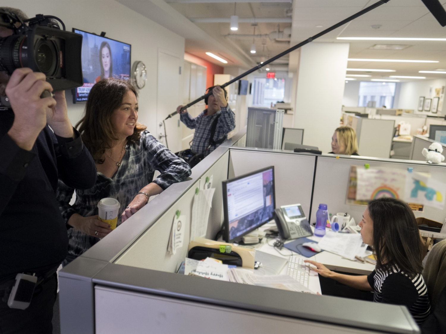 Filmmaker Liz Garbus (left) in production on 'The Fourth Estate.' Photo: T.J. Kirkpatrick/Showtime