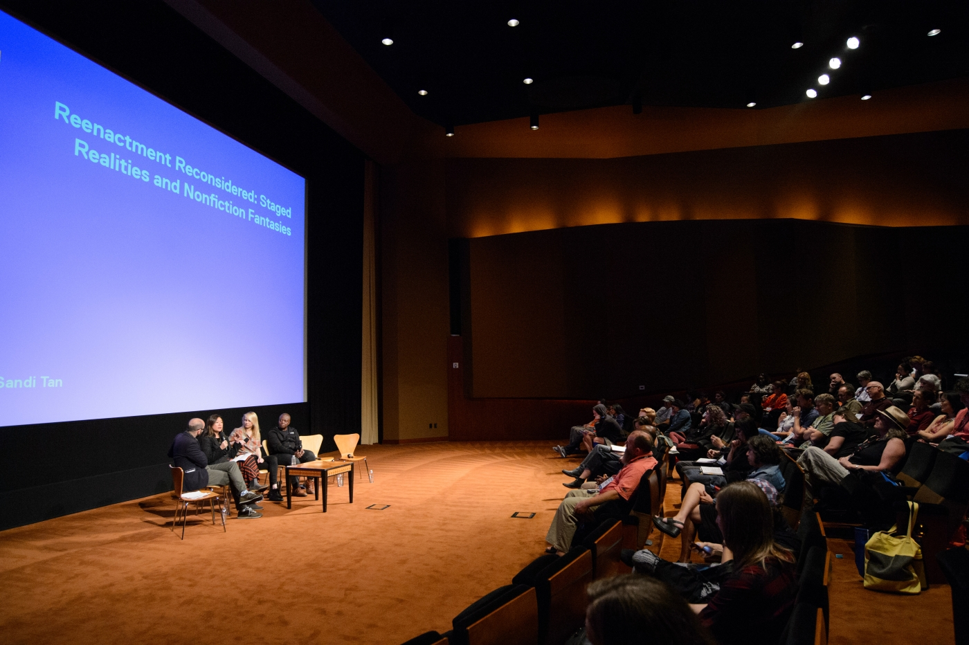 """Reenactment Reconsidered: Staged Realities and Nonfiction Fantasies"" at Getting Real '18. Left to right: Moderator Robert Greene, Sandi Tan, Kitty Green and Yance Ford. Courtesy of AMPAS."