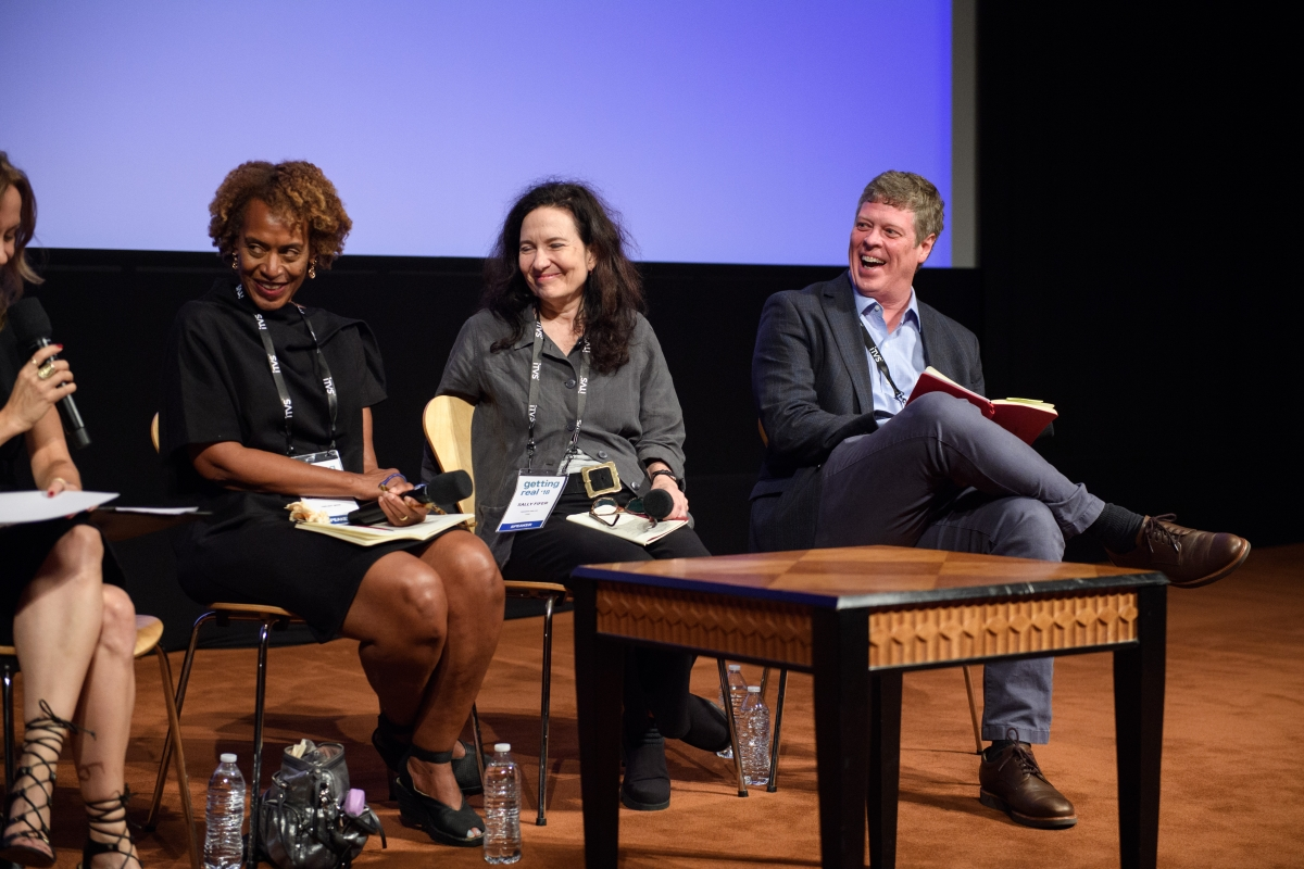 """The Role of Documentary in the Public Sphere"" panel at Getting Real 18--Left to right: Moderator Caty Borum Chattoo, Center for Media and Social Impact; Marcia Smith, Firelight Media; Sally Jo Fifer, ITVS; and Jeffrey Jones, Peabody Awards. Photo courtesy of AMPAS."