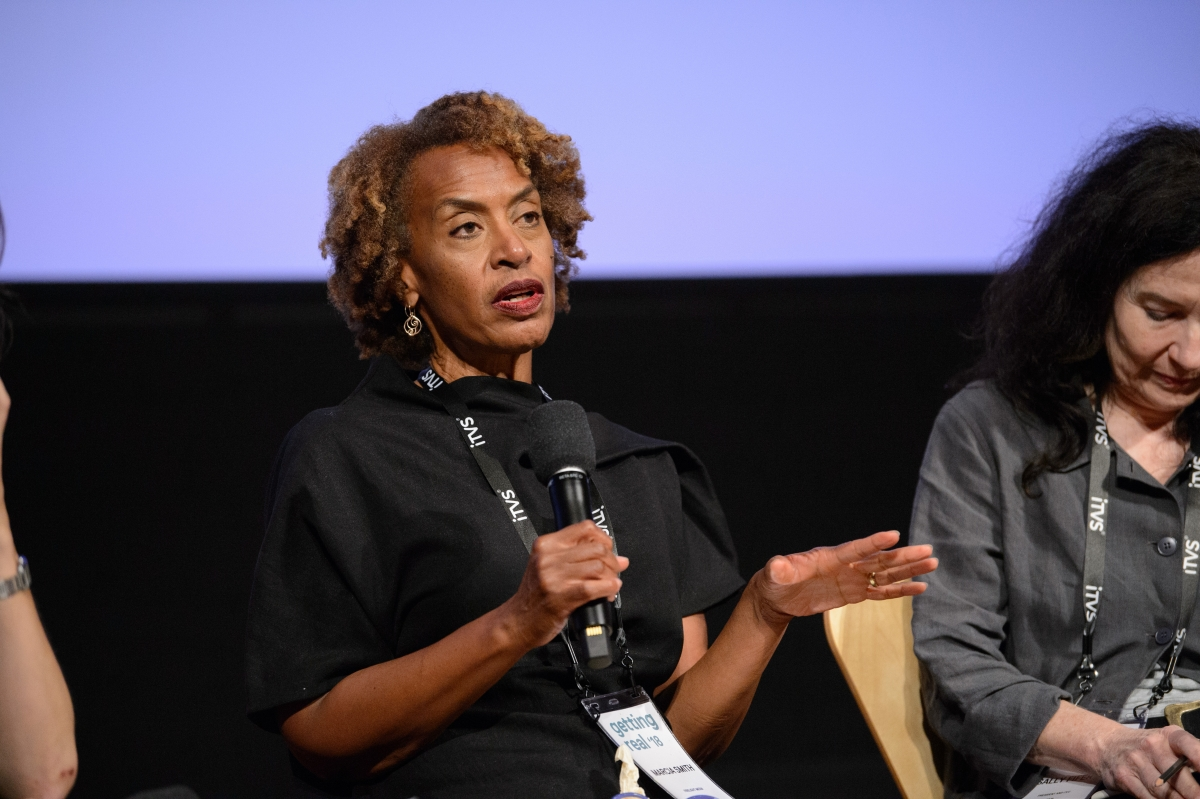 "Marcia Smith of Firelight Media, speaking on the ""Role of Documentary in the Public Sphere"" session. Photo courtesy of AMPAS"