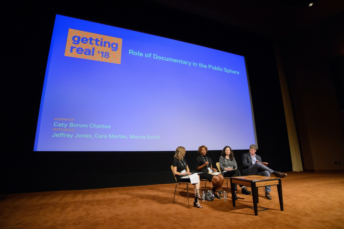 """The Role of Documentary in the Public Sphere"" session at Getting Real '18--Left to right: Moderator Caty Borum Chattoo, Center for Media and Social Impact; Marcia Smith, Firelight Media; Sally Jo Fifer, ITVS; Jeffrey Jones, George Foster Peabody Awards. Photo courtesy of AMPAS"