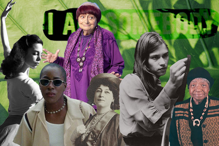 "A collage of Shirley Clarke, Agnès Varda, Cheryl Dunye, Alice Guy-Blaché, Barbara Kopple and Madeline Anderson against a background of a close up leaf, with the words ""I Am Somebody"" faded into the background."