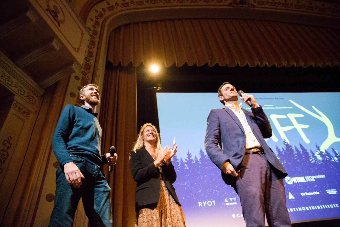 The driving forces behind CIFF's programming, greeting the opening-night crowd: Left to right--Program Director Sean Flynn,  Senior Programmer Samara Grace Chadwick and Executive Director Ben Fowlie. Photo: Alexandra Murrow