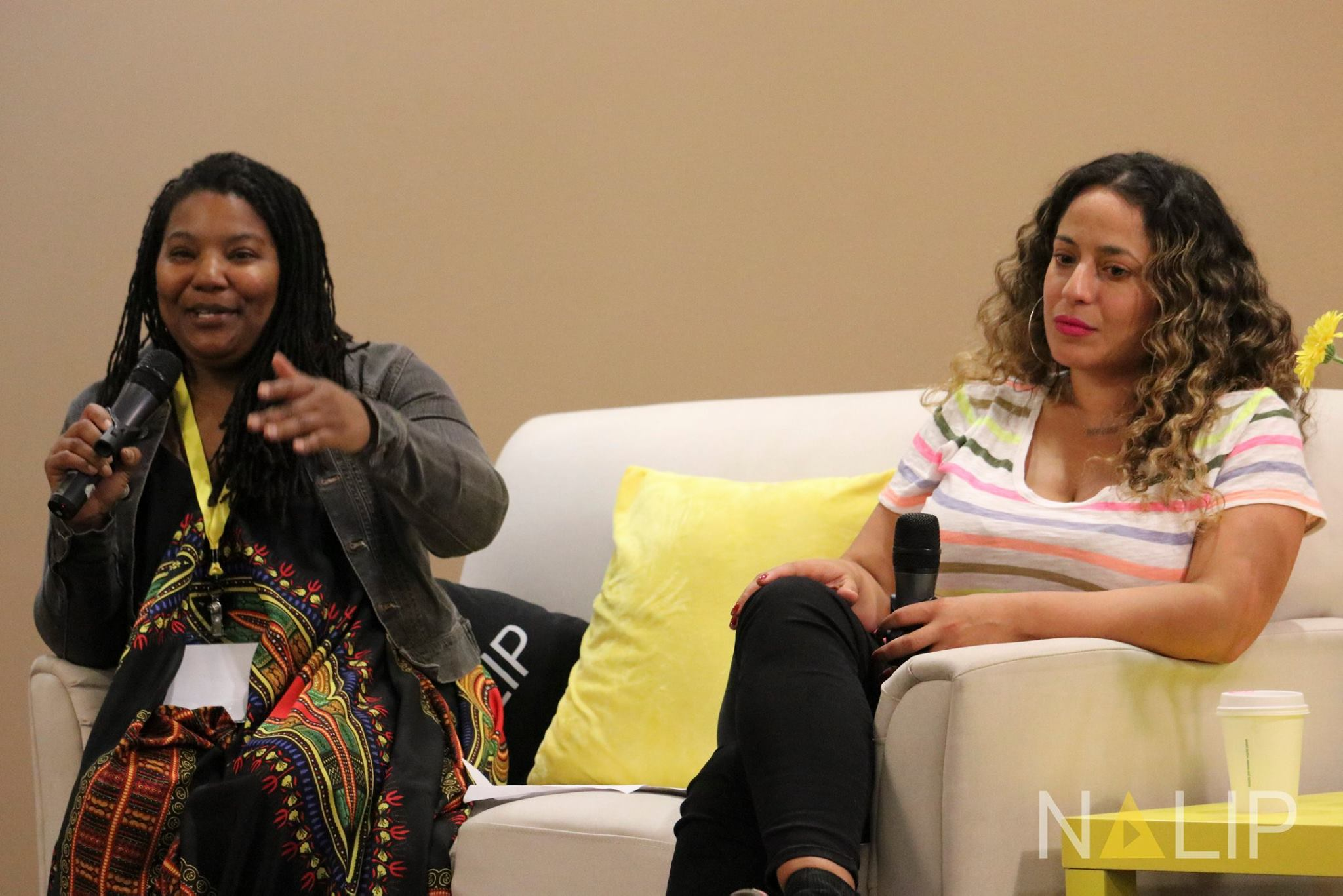 """Toni Bell, IDA Filmmaker Services Manager, moderating """"Pitching to Perfection"""" panel at NALIP. Photo by NALIP"""
