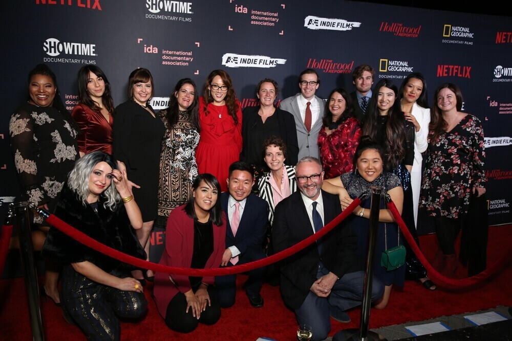 Most of IDA staff at the 2018 IDA Documentary Awards. From left to right 1st row: Toni Bell, Sandra Ignagni, Ranell Shubert, Danna Rosenthal, Jina Chung, Cassidy Dimon, Jefferey Sigmund, Mitch Kampf, Susan Yin, Juliana Sakae, Amy Halpin; bottom row: Maria Elena Hewett, Niki Bhardwaj, Trent Nakamura, Dana Merwin, Simon Kilmurry and Angela Jang. Not pictured: Tom White, Claire Aguilar and Carrie Lozano.