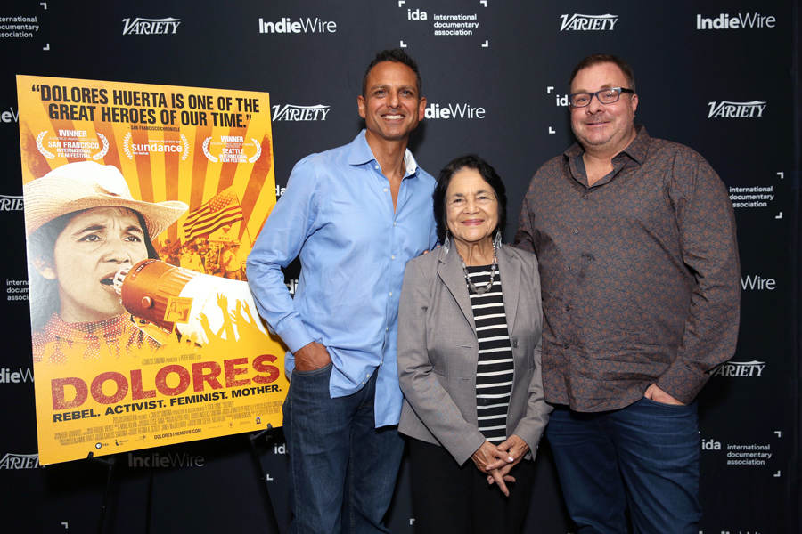 'Dolores' director Peter Bratt with film participant Dolores Huerta and producer Brian Benson at IDA Documentary Screening Series 2017.