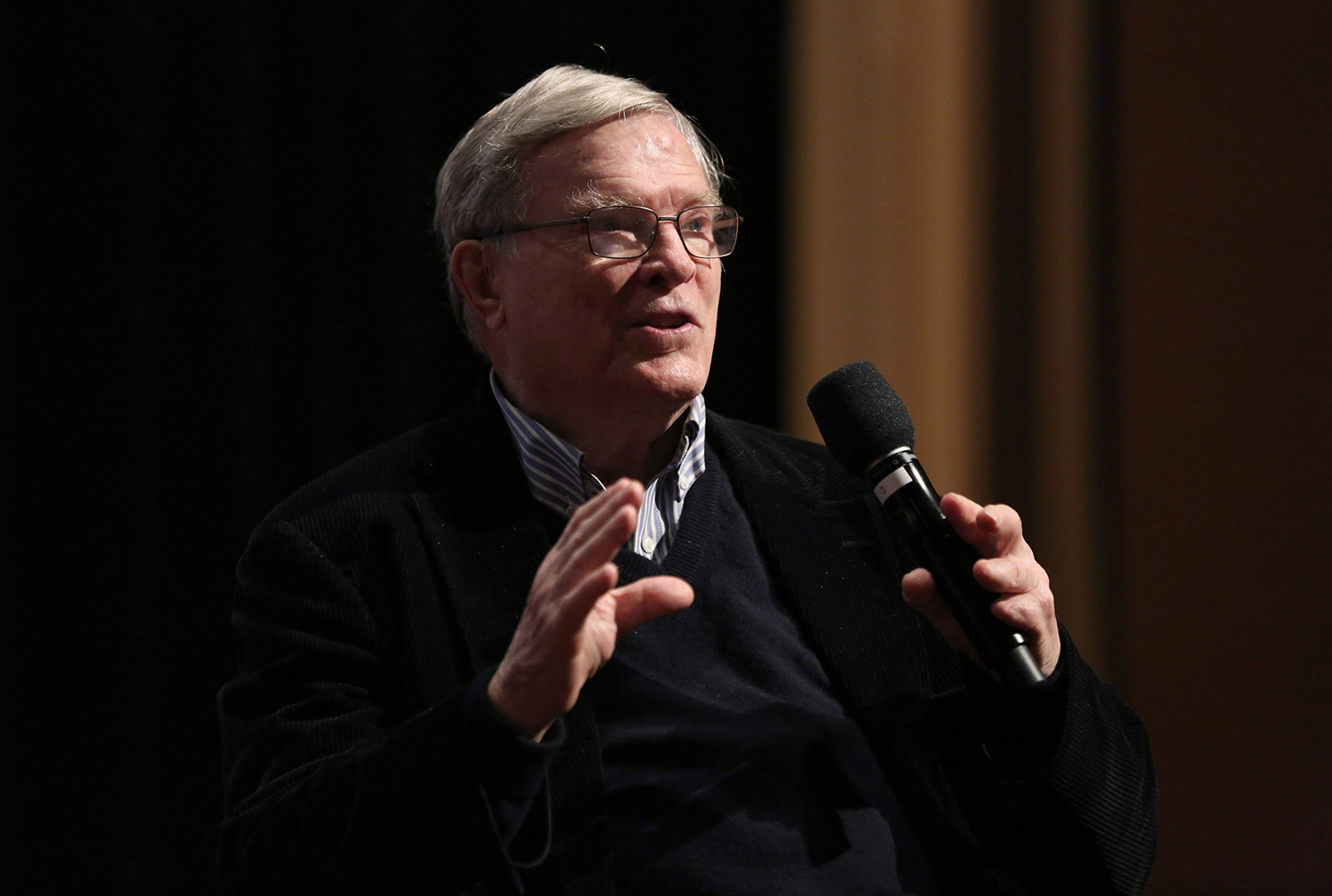 DA Pennebaker, speaking at an IDA Conversation series in November 2016. Photo: Laura Ahmed