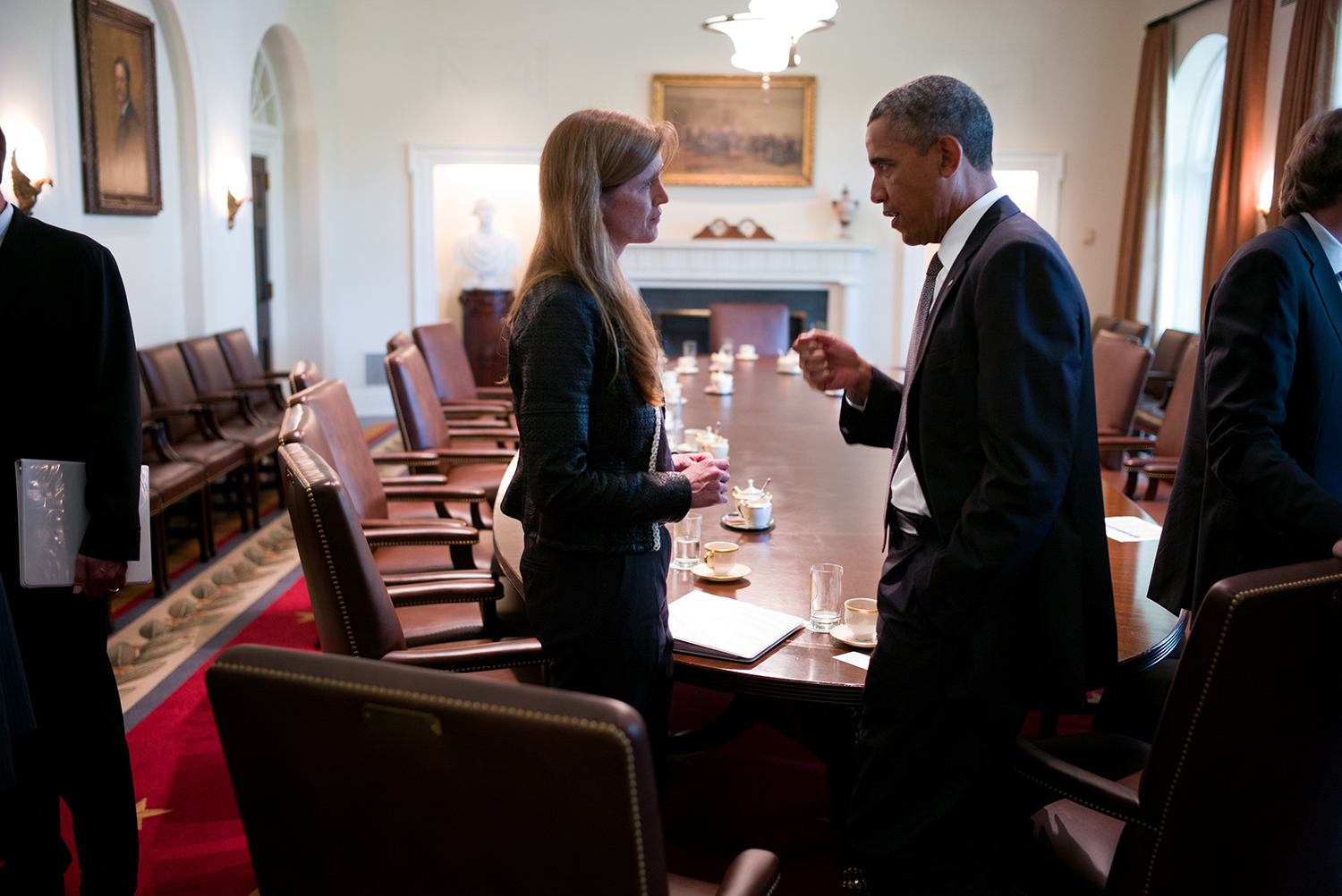 UN Ambassador Samantha Power conferring with President Barack Obama. From Greg Barker's 'The Final Year.' Courtesy of Magnolia Pictures