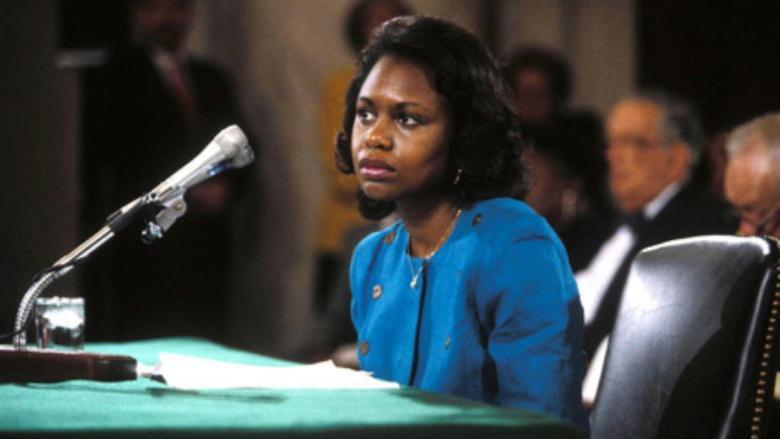 "Anita Hill, testifying at the Clarence Thomas confirmation hearings in 1991. From Freida Lee Mock's ""Anita."""