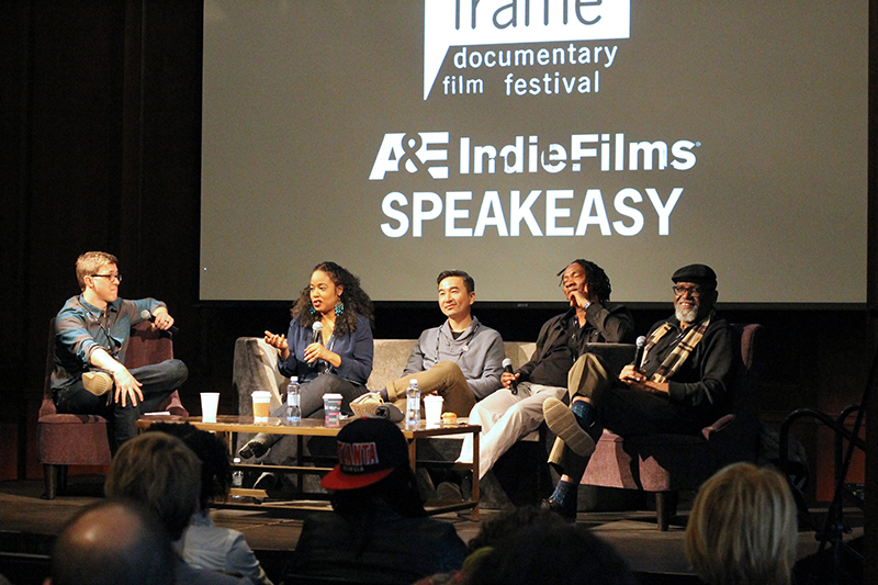 "The ""#DocsSoWhite?"" panel at Full Frame, left to right: Moderator Ian Robertson Kibbe, Sabrina Schmidt Gordon, S. Leo Chiang, Roger Ross Williams, Sam Pollard. Photo: Laney Lente."