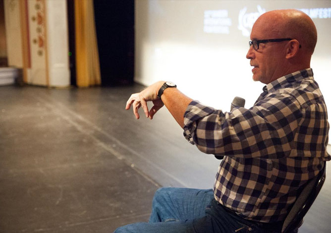 Filmmaker Alex Gibney leading a Masterclass on directing.  Photo: Spencer Worthley