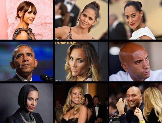 Top row, left to right, Rashida Jones, Halle Berry, Tracee Ellis Ross; middle row, Barack Obama, Lolo Jones, Adrian Fenty; bottom row, Alicia Keys, Mariah Carey, Derek Jeter. Courtesy of The New York Times.