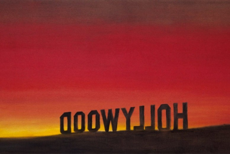 Detail of Ed Ruscha's 'Hollywood,' 1968. (Fine Arts Museums of San Francisco)