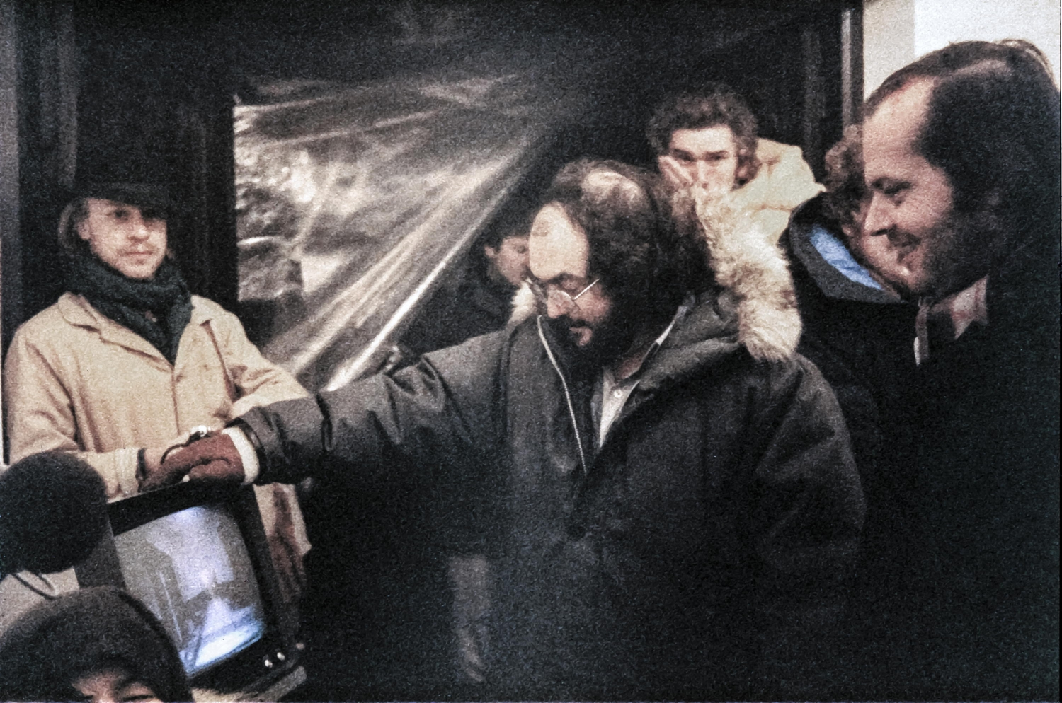 Leon Vitali (left) on the set of Stanley Kubrick's 'The Shining.' Courtesy of Kino Lorber