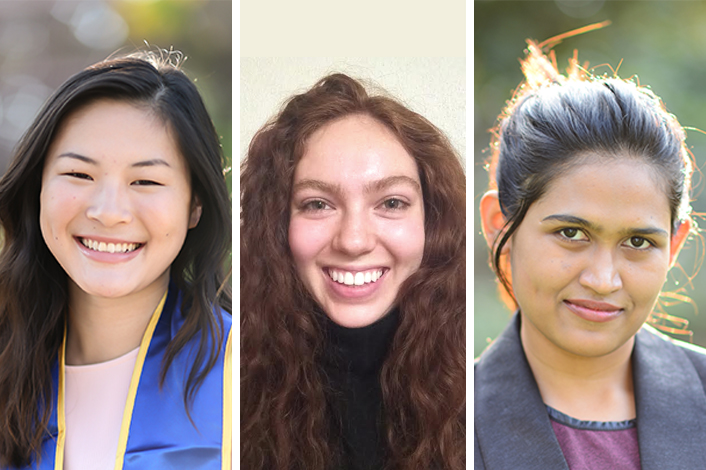 "From left to right: Katie Huang (Web and Information Technology Intern), Sara Cárdenas (Events Intern) and Dilara ""Bristy"" Sultana (Events Intern)"