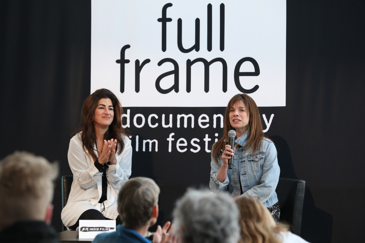 Filmmaker Jehane Noujaim (left), the 2018 Full Frame Tribute honoree, with Festival Director Deirdre Haj. Courtesy of Full Frame Documentary Film Festival.