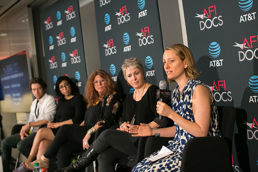 "The ""In Conversation: Documenting Mexico"" panel, left to right: Tatiana Huezo, 'Tempestad'; Maya Goded, 'Plaza de la Soledad'; Trisha Ziff, 'The Man Who Saw Too Much'; moderator Kathleen Lingo, executive producer, 'New York Times Op-Docs'. Courtesy of AFI DOCS"