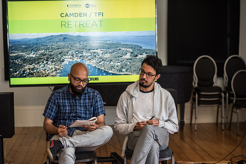 Aman Ali (left) and Zeshawn Ali present their work at the Camden/TFI Retreat. Photo: Alexandra Morrow