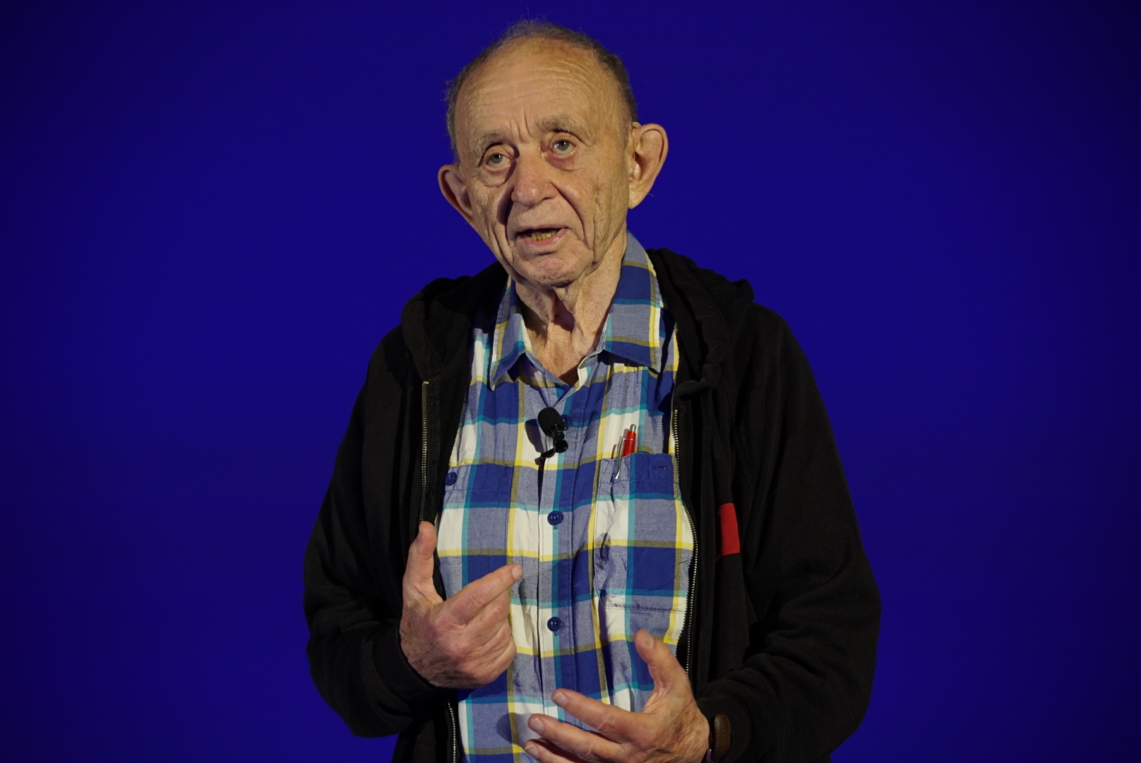 Frederick Wiseman leads his Master Class. Photo by Mark Hayes.