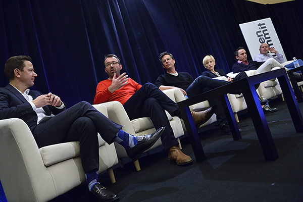"The ""Power Platform Players"" panel at Realscreen Summit. Left to right: Michael Klein, EVP, Conde Nast Entertainment; Sam Barcroft, CEO, Barcroft Media; Gary Binkow, COO, Studio 71; Ashley Kaplan, head of content, Fullscreen; Matt Sims, VP, Maker Studios; Sam Toles, VP, Vimeo. Photo: Rahoul Ghose. Courtesy of Realscreen"