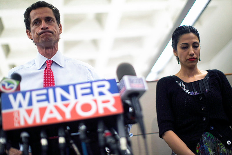 Anthony Weiner (left) and his Wife, Huma Abedin, addressing the second sexting scandal.