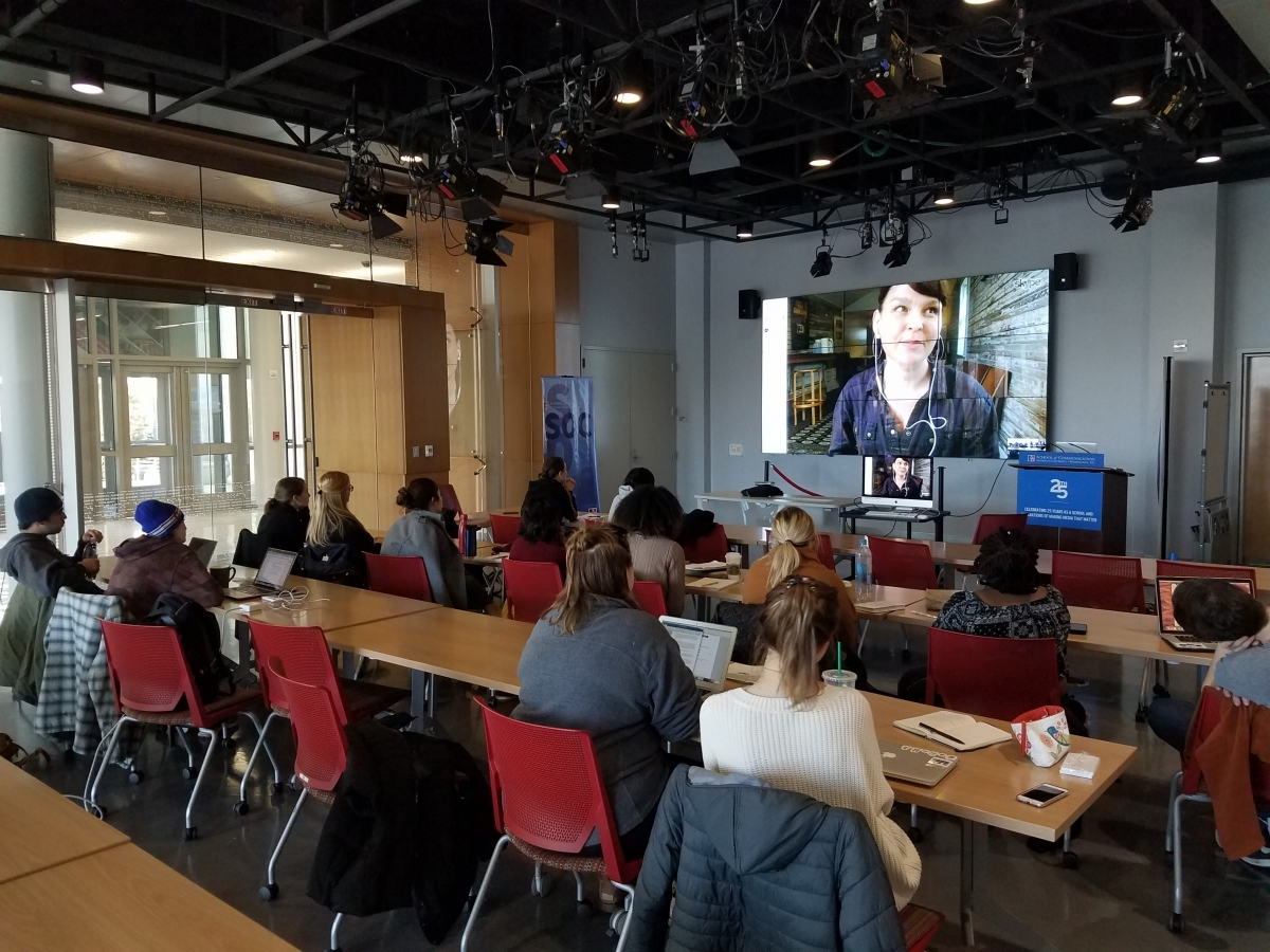 Molly Murphy, co-director of Working Films, discussing, via Skype, civic engagement in Caty Borum Chattoo's class at American University School of Communication. Courtesy of Center for Social Media.