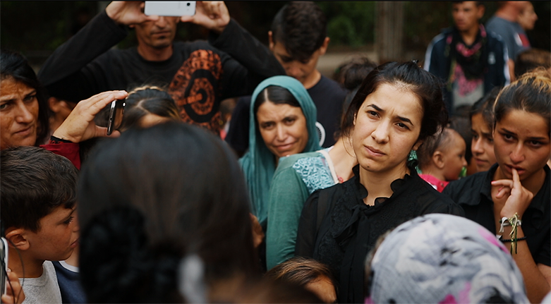 Nadia Murad visits a Yazidi refugee camp in Greece.