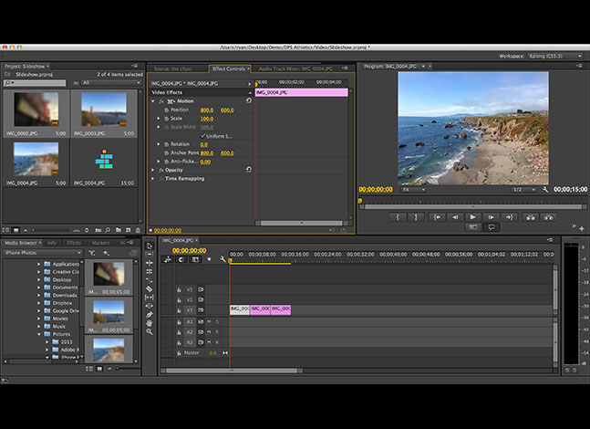 Screenshot of Adobe Premiere