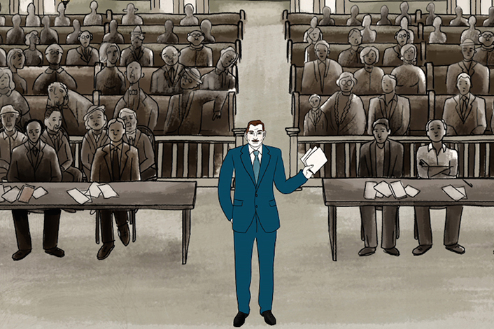 Lawyer Clinton Brown at one of Brinkley's many trials. Artist: Rose Stark. Courtesy of Cartuna.