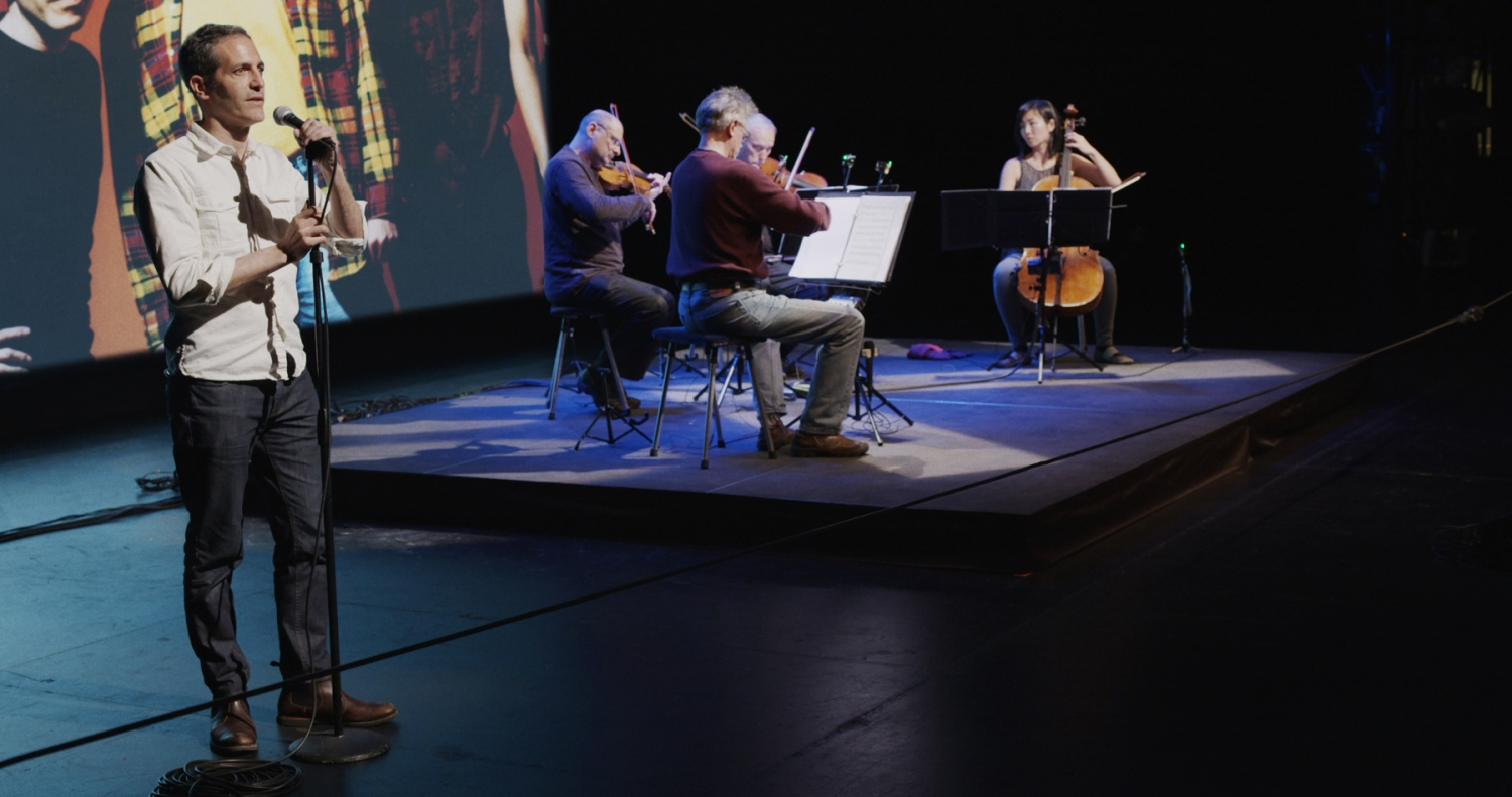 Sam Green (left) performing with the Kronos Quartet in his and Joe Bini's 'A Thousand Thoughts.' Courtesy of SFFILM