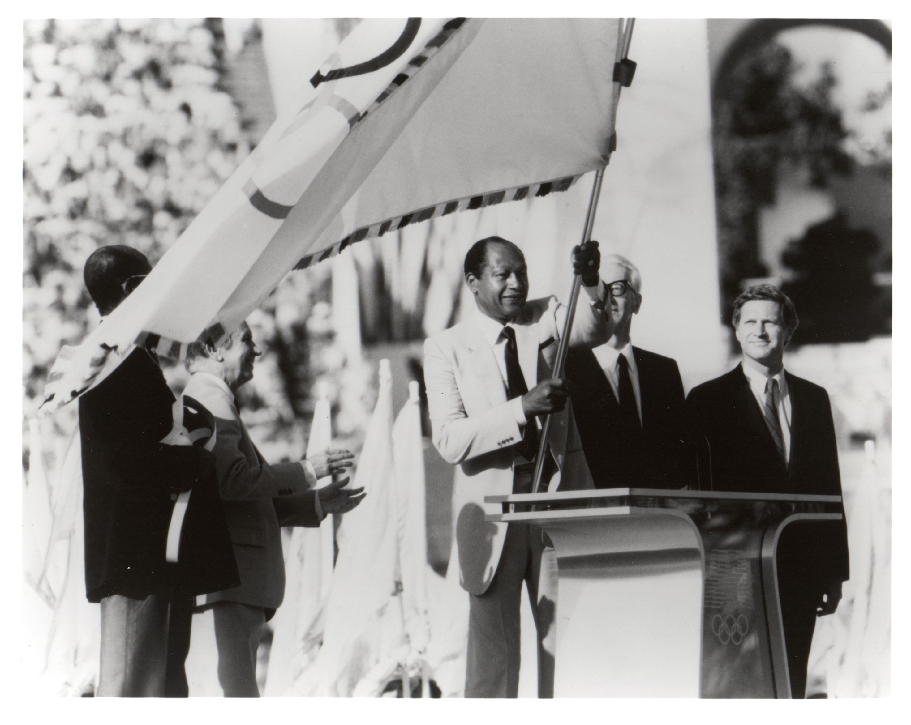 Mayor Tom Bradley carrying the flag at the 1984 Summer Olympic Games in Los Angeles. Photo: Tom Bradley Legacy Foundation at UCLA