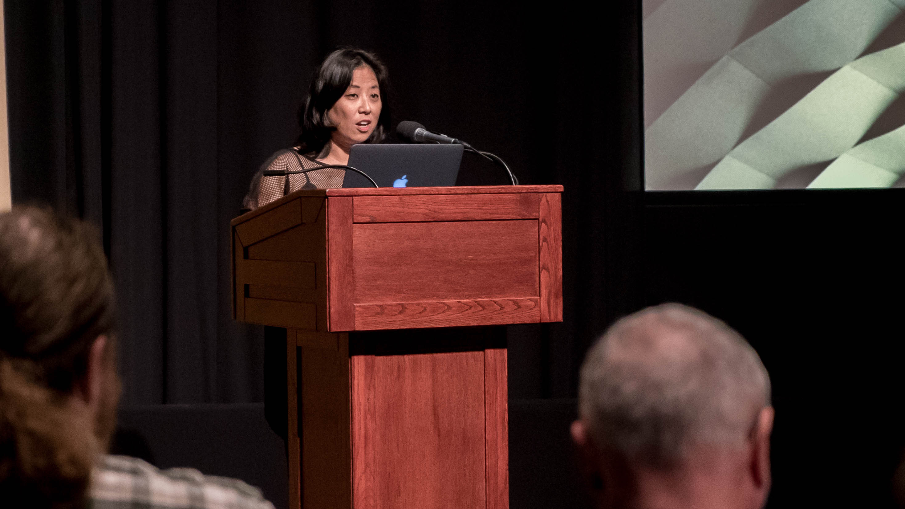 Grace Lee delivering her keynote at Getting Real '16. Photo by Mark Hayes.
