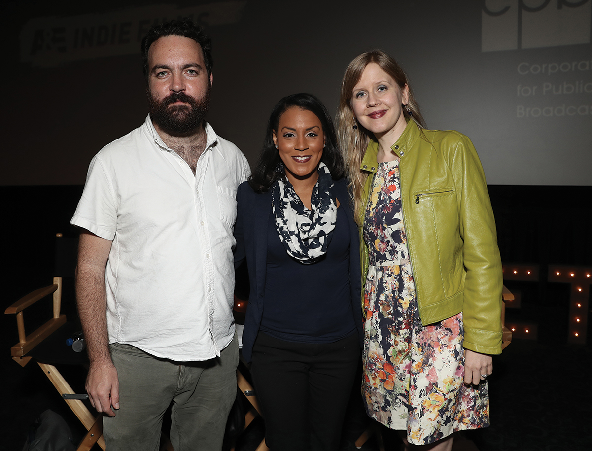 Left to right: Josh Penn, Brenda Robinson and Justine Nagan at Getting Real '18. Photo by Todd Williamson for International Documentary Association.