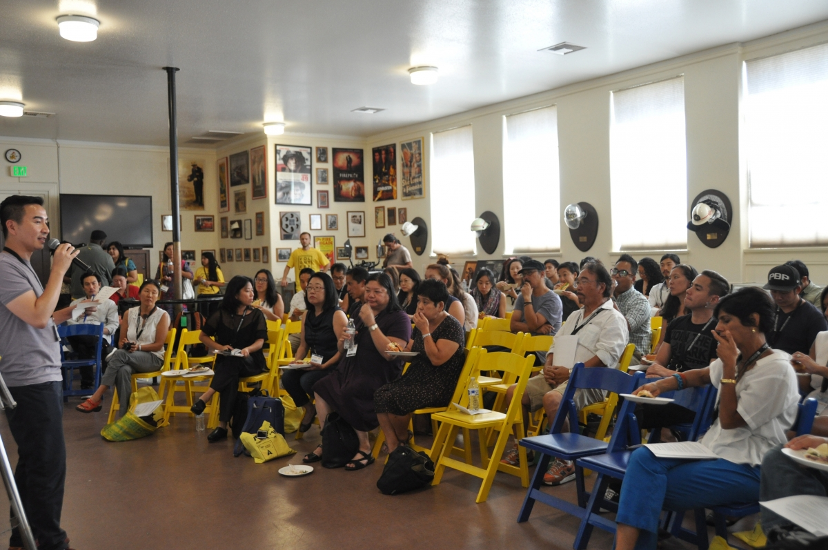 Filmmaker S. Leo Chiang (left, with microphone), kicks off the Asian American Filmmakers Meeting at Getting Real '16. Photo: Neelanjana Banerjee
