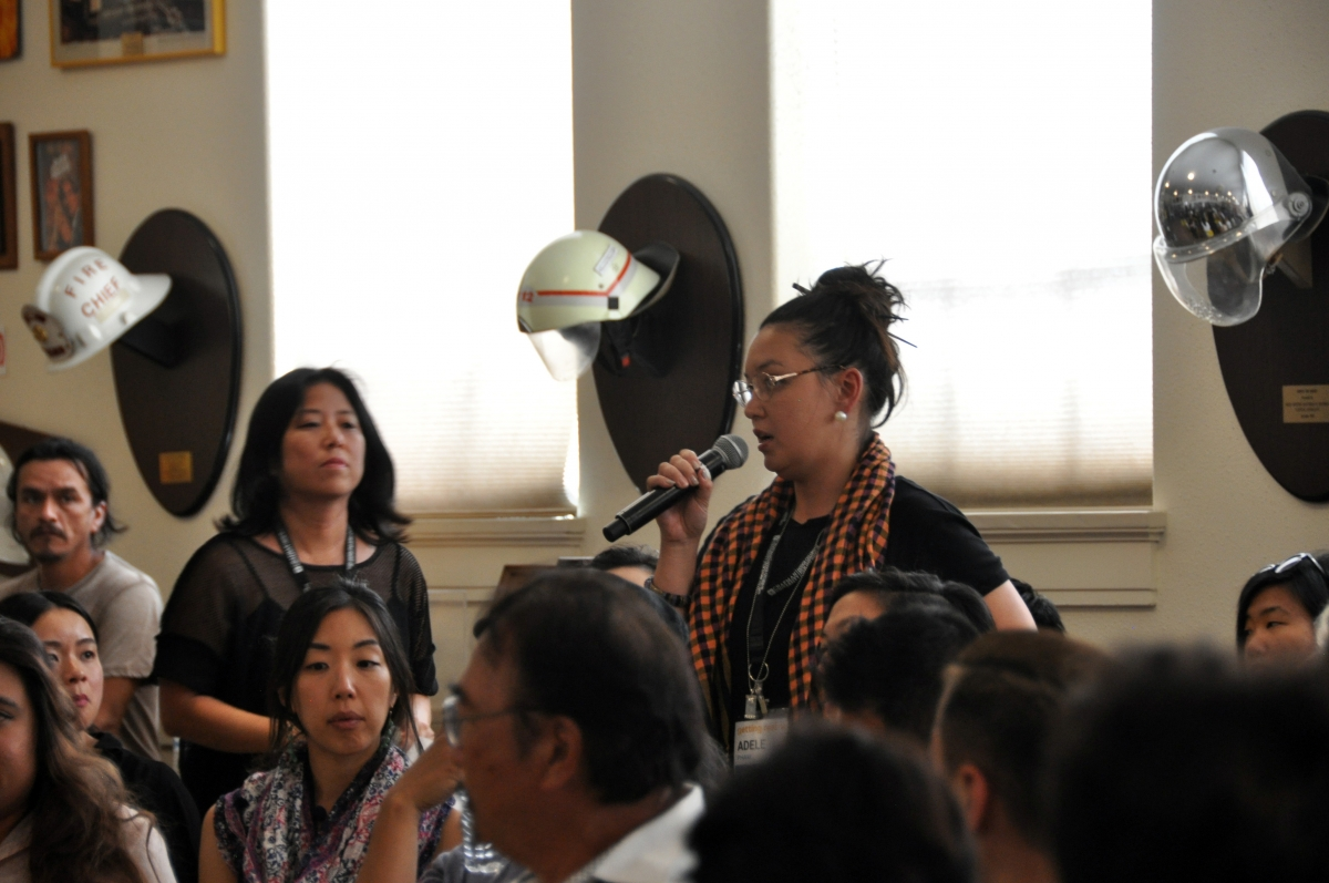 Filmmaker Adele Pham (standing, with microphone) addresses the Asian American Filmmakers Meeting at Getting Real '16. Photo: Neelanjana Banerjee