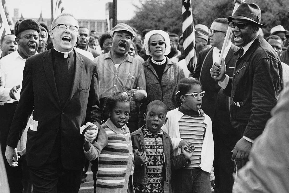 Abernathy children on front line leading the Selma to Montgomery March for the right to vote.