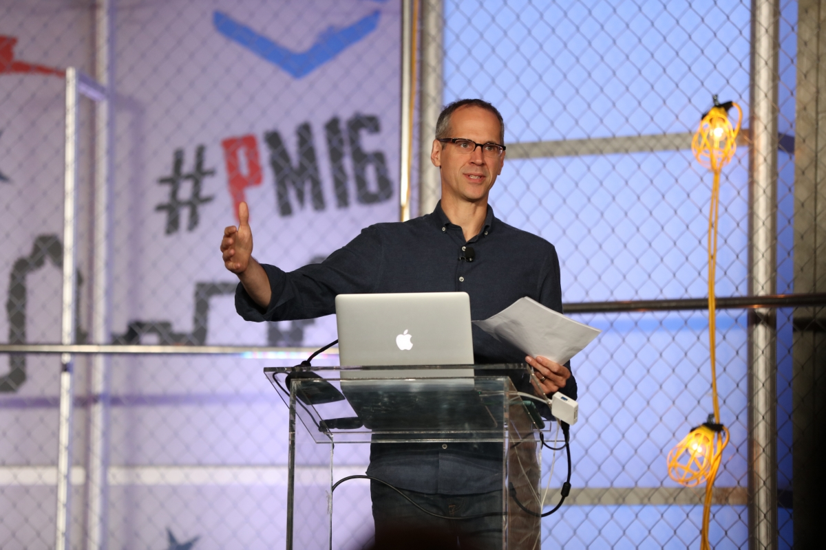 Alex Blumberg, keynote speaker at Podcast Movement 2016. Courtesy of PodcastMovement.com