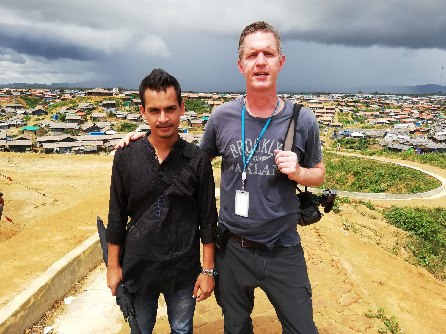 Andrew Berends working with translator Amjad Hossen in the Rohingya refugee camps, Bangladesh, 2018.  Photo: Alastair Lawson-Tancred