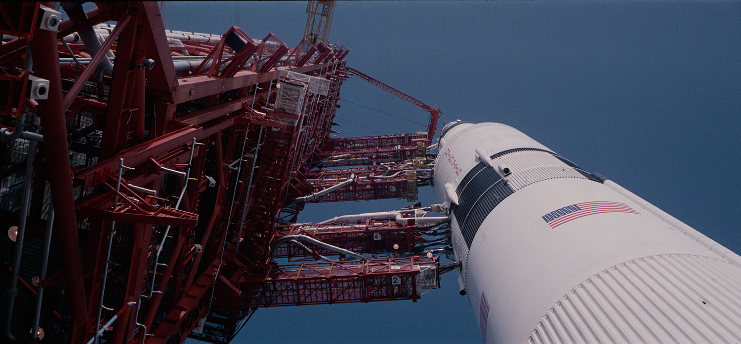 ":From Todd Douglas Miller's ""Apollo 11"". The Apollo 11 Saturn V rocket that would carry astronauts Neil Armstrong, Edwin ""Buzz"" Aldrin, and Michael Collins to the moon at Launch Pad39A at NASA's Kennedy Space Center in Florida on  July 16, 1969. Image courtesy of Statement Pictures for CNN Films/NEON"