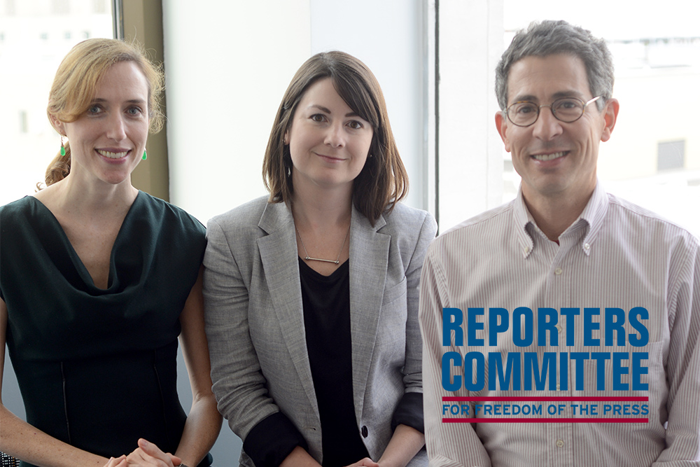 Left to right: Staff Attorney Sarah Mathews, Legal Director Katie Townsend, Executive Director Bruce Brown. Courtesy of Reporters Committee for Freedom of the Press