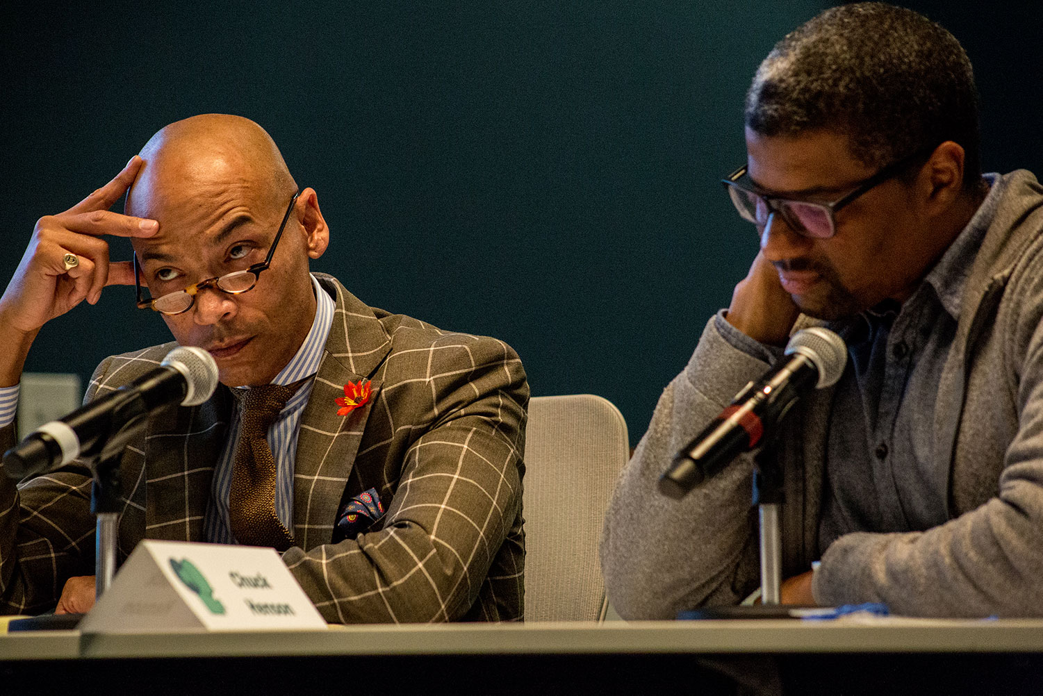 Chuck Henson, Trial Practice Professor of Law at University of Missouri School of Law, representing filmmaker Kamau Bilal at the mock deposition at the 2019 Based On A True Story conference. Photo: Alan Goforth