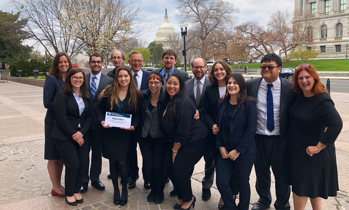 DMCA team members after the Washington D.C. hearing. From left to right: Brianna Schofield, Authors Alliance; Susan Miller, Colorado Law; Brian Tamsut, UCI Intellectual Property, Arts, and Technology Clinic; Jim Morrissette, Kartemquin Films; Angel Antkers, Colorado Law; Michael Donaldson, Donaldson + Callif; Pat Aufderheide, American University; Blake Reid, Colorado Law; Cristen Fletcher, Jack Lerner, Lauren Wertheimer, Shaia Araghi, Jovan Ardy, all of UCI Intellectual Property, Arts, and Technology Clinic; Heidi Tandy, Price Benowitz LLP. Photo from UCI Law Intellectual Property, Arts and Technology Clinic.