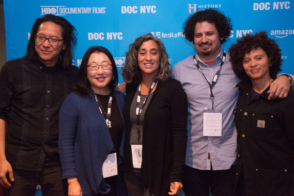 "Left to right: Stephen Maing, Renee Tajima-Pena, Geeta Gandhir, Edwin Martinez and Nadia Hallgren, following the panel ""Power & Perspective in Storytelling."" Photo: María Fernández-Pello"