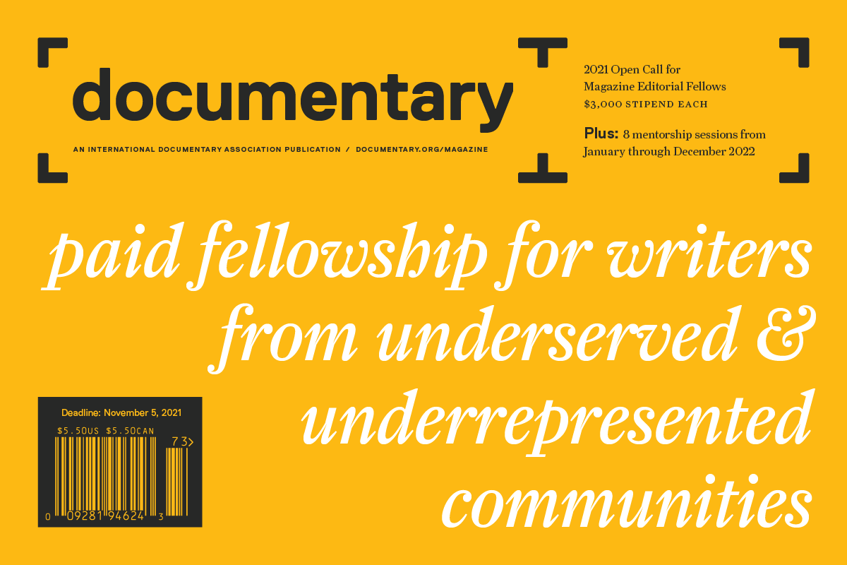 Documentary magazine cover header with text: paid fellowship for writers from underserved & underrepresented communities