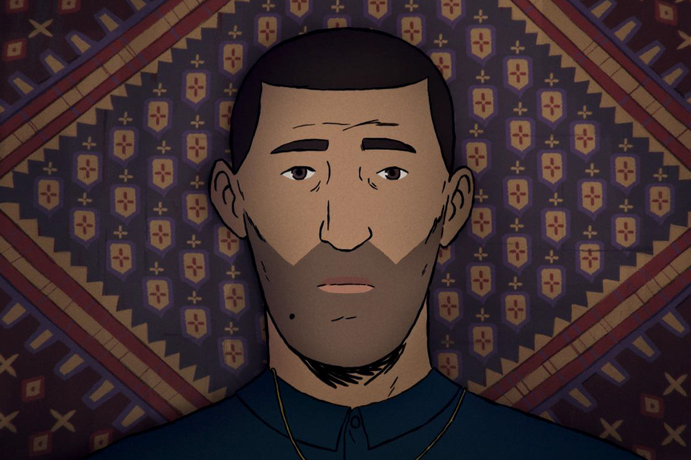Animated image of Amin, an Afghan man with a dark beard and short hair. He islieing on a patterned rug. From Jonas Poher Rasmussen's documentary 'Flee.' Image courtesy of TIFF.