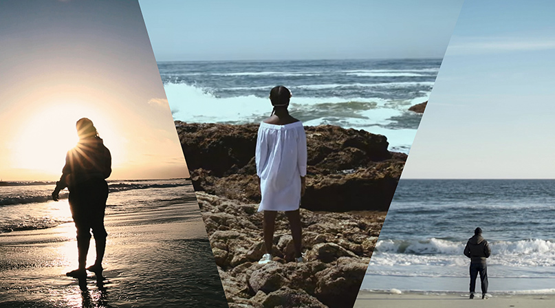 Collage of 3 photos, each with a person standing in front of the ocean. From Sophia Nahli Allison's A Love Song for Latasha. Courtesy of Sofia Nahli Allison