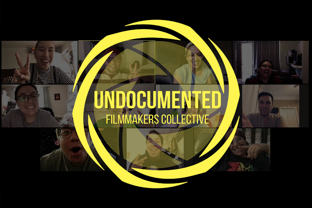 "Logo of Undocumented Filmmakers Collective overlaid Zoom meeting screenshot. From left to right and top to bottom: Nicole Solis-Sison, Set Hernandez Rongkilyo, Rahi Hasan, Claudia Ramirez, Dorian Aideé Gómez Pestaña, Lidieth Arevalo, Paolo ""Ame"" Rein, Marcos Nieves, Josaen Hernandez Ronquillo, Mario Torres Torres, Darío Guerrero."