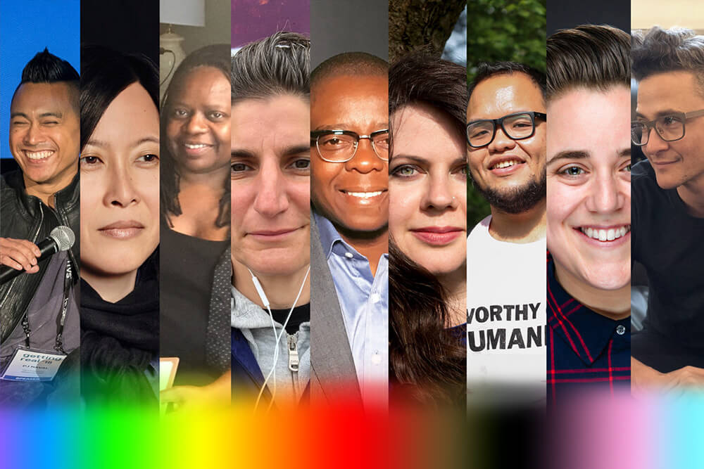 A collage of members of the LGBTQ+ roundtable with a rainbow gradient on the bottom. From left to right: PJ Raval, Kim Yutani, Yvonne Welbon, Jess Search, Yance Ford, Lindsey Dryden, Set Hernandez Rongkilyo, Viridiana Lieberman, and Sam Feder. Courtesy of those listed